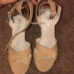 NUDE STRAPPY MICHAEL KORS WEDGES (WORN ONCE)